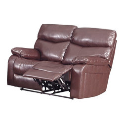 Klaussner Furniture - Jersey Reclining Loveseat, Braxton Burgandy - The reclining loveseat comes with padded armrests and plush cushions in Braxton Burgandy leather-like upholstery. Your living space will become more comfy and captivating with Jersey reclining collection.