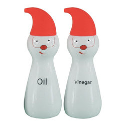 """Cuisinox - Elf Oil & Vinegar Set, Porcelain/Silver Red - Certainly a conversational piece. Add color to your kitchen with this original cruet set. They are ideal for all of your favorite cooking and salad oils and specialty vinegars. Use them for food preparation or directly on your table. Made of white porcelain with a capped stainless steel pouring spout.; Material: Porcelain; 500 ml/ 16.9 oz; Hand Wash; Set of 2 Porcelain Bottles; Drip Proof Caps; Country of Origin: China; Weight: 2 lbs; Dimensions: 9.5""""H x 6.5""""W x 3.5""""D"""