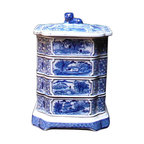 Golden Lotus - Porcelain Square Shape Blue & White Stack Candy Box - This is a stylish elegant decorative accent for the modern home. It can become a few dishes for candy or accessories display. When all stack together, it is a home decoration charm.