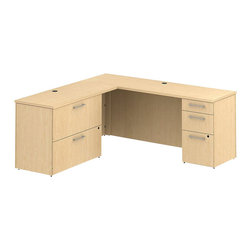 "Bush - Bush 300 Series 72"" L-Shape Desk with File Drawers in Natural Maple - Bush - Computer Desks - 300S002AC - Functional beauty plus sophisticated styling comes standard with the BBF Natural Maple 300 Series 72""W x 22""D Desk with 48"" Return. Desk's narrow profile offers extra workspace yet fits in the tightest places. The 48"" Return lets you spread out comfortably. Five drawers both B/B/F and F/F hold all necessary papers documents or office supplies. Expand storage with a 2-drawer lateral file matched to desk height. Special interlocking drawers reduce the risk of tipping. Full-extension ball-bearing slides make it easy to reach the back of all drawers. Accommodate letter- legal or A4-size files. Wire grommets hide unsightly cords and cables keeping desk surfaces clutter-free. Choose from multiple finish options to fashion a complete office suite. Total configuration flexibility lets you outfit any-size office space. Tough rugged work surfaces resist scratching stains dings and dents looking good for years. Includes BBF Limited Lifetime warranty."