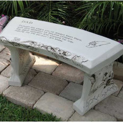SouthWest Graphix - SouthWest Graphix Personalized Dad Garden Bench Multicolor - SWG0100-NO PERSONAL - Shop for Benches from Hayneedle.com! Let Dad know how much you appreciate him with this great hand crafted concrete bench that will last for years to come! This bench features text in the middle and a child's hand being held by dads hand in the upper right hand corner. It is finished in an antique rub to give it that weathered look. The edges of the bench are engraved with a vine of oak leaves and small acorns to symbolize the future. The text on this bench reads as follows:DADThrough the years you've always been there with love between us beyond compare.You gave direction and showed the way making me the person I am today.Add a special touch with the optional addition of personalized text. If choosing personalization a proof will be sent for your approval before your bench is produced. Additional art charges may apply depending on personalization complexity.