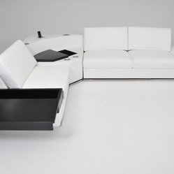 Modern HQ White Eco-Leather Storage Sectional Sofa with Audio Center