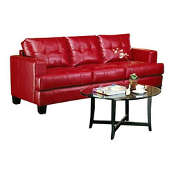 Coaster - Coaster Samuel Modern Tufted Sofa in Red Bonded Leather - Coaster - Sofas - 501831 - The Samuel group will give your contemporary living room a stylish update. The pieces are crafted of sophisticated bonded leather, over a solid hardwood frame with webbed backs and sinuous spring bases for support and durability. These pieces feature plush tufted attached back cushions, and deep t-cushions on the seat for cool comfort. Sleek track arms and square tapered wood legs complete the look. Available in These simple pieces are easy to blend with your home decor, and will help you create the comfortable contemporary style you desire.
