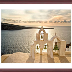 Artwork - Skaros: Santorini Greece - Church top with three bells overlooking the Aegean on Santorini.  Printed to order on archival  enhanced matte or premium luster paper with archival ink. Size 24 x 30, dry mounted,dbl. acid free neutral matting, glass, solid gold wood frame, backing paper. Titled and signed by artist. A great addition to any wall decor. Shipping included .