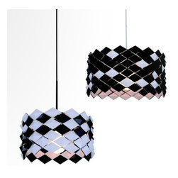 IMPORT LIGHTING & FUNITURE - Black Jack Pendant Lamp - The black jack Pendant lamp is made of carbon steel and has a very unique shade in that the shade can be converted from black to white by flipping the units on the shade. So whether you feel like having a white lamp or a black lamp or maybe both, this fixture would be for you.