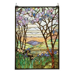 Meyda Tiffany - Meyda Tiffany Tiffany Magnolia & Iris Window X-41521 - The dusky backdrop accentuates the light shades of lavender and lilac on the magnolia tree and iris flowers on this beautiful Meyda Tiffany stained glass window. From the Magnolia & Iris Collection, this elegant Victorian inspired wall art is a dazzling addition to any setting.