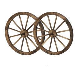 """Pier Surplus - 24"""" Wooden Wagon Wheels - Steel-Rimmed Wooden Wagon Wheels, Set of Two #PL50019 - Add rustic charm to your yard, patio, fenced yard, or workplace with these wagon wheels. Inspired by antique designs, this set will provide a western allure of the great outdoors to any environment. This set has been constructed using high-quality materials in order to insure long life out in the elements. You will love the little details, such as steel rims. Great for homes decorated in a western or country style."""