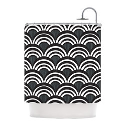 """Kess InHouse - Nicole Ketchum """"Art Deco Black"""" Shower Curtain - Finally waterproof artwork for the bathroom, otherwise known as our limited edition Kess InHouse shower curtain. This shower curtain is so artistic and inventive, you'd better get used to dropping the soap. We're so lucky to have so many wonderful artists that you'll probably want to order more than one and switch them every season. You're sure to impress your guests with your bathroom gallery in addition to your loveable shower singing."""