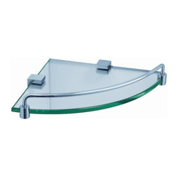 "Fresca - Fresca Ottimo Corner Glass Shelf - Chrome - Create additional space in your bathroom with a wall-mounted Fresca Ottimo Corner Glass Shelf in Chrome, part FAC0448. It's ideal for storing bathroom items in a shower or above a bathtub, or for displaying decorative items. The thick bathroom glass shelves are securely attached to the sides, and the mounting hardware is easy to use. Raised chrome rails add a decorative touch, and all non-glass components are forged from solid brass. Your brass glass shelf measures 8 1/2"" W x 8 1/2"" D x 1 1/2"" H"
