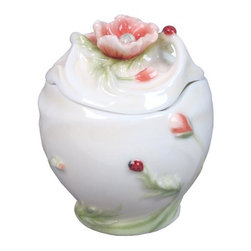 US - 3.25 Inch Glazed Porcelain Condiment Jar Poppy Lid Ladybug Motif - This gorgeous 3.25 Inch Glazed Porcelain Condiment Jar Poppy Lid Ladybug Motif has the finest details and highest quality you will find anywhere! 3.25 Inch Glazed Porcelain Condiment Jar Poppy Lid Ladybug Motif is truly remarkable.