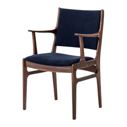 Marco Polo Imports - Beecher Arm Chair, Navy - Contemporary arm chair built from Reclaimed Wood with canvas upholstery. All Wood Is 100% Certified Reclaimed And Repurposed By The Forestry Stewardship Council - An Independent Not-For-Profit Organization That Promotes Responsible Management Of The World's Forests. Available with Navy or Green upholstery.