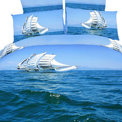 Dolce Mela - Modern Marine Design Duvet Cover Set Dolce Mela DM482, Queen - Bring happiness and youth in your bedroom with the beauty of the Bon Voyage bedding design. The vivid print of a Sail Boat sailing on the Caribbean blue waves will transform your bedroom into magical marine scenery.