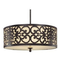 Minka-Lavery - Nanti Drum Pendant by Minka-Lavery - A touch of warm opulence blended with playful traditional motifs. The Minka-Lavery Nanti Drum Pendant offers lovely transitional style, with an etched vanilla glass shade and 2 beautiful finishes available. Available in 2 sizes, it's perfect as a foyer or dining room chandelier or as an addition to an elegant bedroom or powder room.