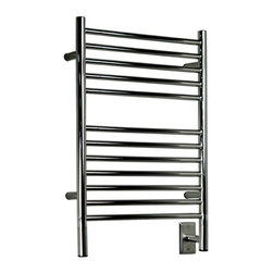 Amba - Jeeves E Straight Towel Warmer | Amba - Made in South Africa by Amba.A part of the Jeeves Collection. The Jeeves E Straight Towel Warmer provides a broad canvas for towels large and small to be heated to the pinnacle of comfort. The multiple towel rungs with varied spacing in between bars makes this the ideal towel warmer for bath spaces in need of storage and function. The sleek body in conjunction with the stainless steel construction ensures this superior towel warmer will withstand the test of time. Select the ideal finish for your specific space. Product Features: