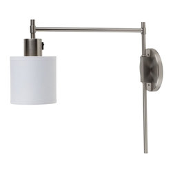 Lights Up! - Walker Pin-Up Sconce - White Linen - The lantern sconce goes thoroughly modern. This easily elegant piece, designed by Rachel Simon, combines soft curves, strong corners and appealing brushed nickel to add a distinctive touch to your favorite modern setting. Choose a solid linen or patterned silk shade.