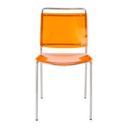 Euro Style - Stefie Pro Side Chair (Set Of 4) - Orange/Chrome - The key design element in the Stefie chair is that the seat and back are acrylic.  Whether you choose clear or one of the tasty colors, your space will feel lighter and the colors more alive with light both reflected and backlit.