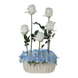 Laura Cole - Jacquette Faux - White Roses with Hydrangea's in White Vase, Blue - Add a splash of romance to any room with this exquisite permanent bouquet of white roses and blue hydrangea's. This unique, one of a kind silk flower arrangement will prove that its just as realistic, breathtakingly gorgeous and romantic as the most expensive flower arrangements you can buy. Finished with a gorgeous white ceramic vase designed to coordinate with any decor, this beauty will bring color and life into any space.