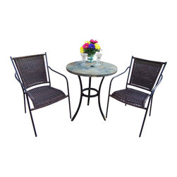 Oakland Living - Oakland Living Stone Art Wicker 3-Piece Bistro Set in Coffee - Oakland Living - Patio Bistro Sets - 77103900493CF - About This Product: