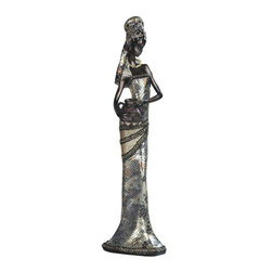 GSC - 16 Inch African Ladies In Silver Dress Figurine - This gorgeous 16 Inch African Ladies In Silver Dress Figurine has the finest details and highest quality you will find anywhere! 16 Inch African Ladies In Silver Dress Figurine is truly remarkable.