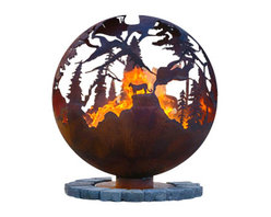 """The Fire Pit Gallery - High Mountain 37"""" Steel Fire Pit Sphere with Flat Steel Base - High Mountain features a Big Horned Sheep, Bear and Cougar or Mountain Lion in the craggy high mountain ridges of this fire pit sphere. Notice how some of the mountain ridges appear close and others appear to be far away."""