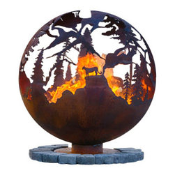 "The Fire Pit Gallery - High Mountain 37"" Steel Fire Pit Sphere with Flat Steel Base - High Mountain features a Big Horned Sheep, Bear and Cougar or Mountain Lion in the craggy high mountain ridges of this fire pit sphere. Notice how some of the mountain ridges appear close and others appear to be far away."