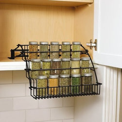 Rubbermaid Pull-Down Cabinet Spice Rack - This pull-down organizer would help me locate the exact spice I want, now! I usually have to pull out several one by one and navigate dominoes spice bottles.