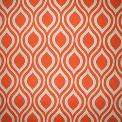 "Close to Custom Linens - 84"" Shower Curtain, Unlined, Nicole Orange Beige Geometric - Nicole is a contemporary medium scale geometric in orange on a neutral beige linen-textured background"