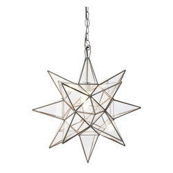 Worlds Away - Worlds Away Clear Star Chandelier-Small - Small Clear Star Chandelier. Uses 1 - 60 watt bulb. Comes with 3' antique brass chain and canopy. Additional chain may be purchased upon request.