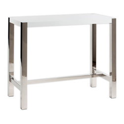 "Moe's Home Collection - Riva Bar Table White - Contemporary Bar Table in White lacquer with Stainless sleet base. Seats 4. MDF and polished stainless steel. Dimensions: 47""W x 24""D x 41""H."