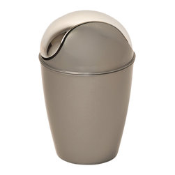 Pp Waste Basket 4.5-Liter/1.2-Gal -Grey - This waste basket for bathrooms is made of shiny polypropylene and features a convenient chrome plated finish swing top lid. This versatile flaring shape waste basket brings style to your bathroom and fits easily in any bathroom or under any desk with its capacity of 4.5-Liter/1.2-Gal. Diameter of 8.27-Inch and height of 13.39-Inch. Clean with soapy water. Color shiny grey. Keep your bathroom clean in a trendy style with this attractive waste basket! Complete your decoration with other products of the same collection. Imported.