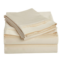 1000 Thread Count Egyptian Cotton Olympic Queen Ivory Solid Sheet Set - 1000 Thread Count Egyptian Cotton oversized Olympic Queen Ivory Solid Sheet Set