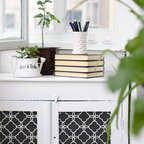 Eastern Lattice Moroccan Stencil - Eastern Lattice Moroccan Wall Stencil from Royal Design Studio Stencils. This handpainted Eastern allover design makes a graphic statement on white cabinetry. This is a great stencil for tight spots like kitchens, furniture, and bathrooms but it can also be used on fabric, flooring and ceilings.