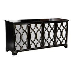 """Oly Studio - Oly Studio Elisabeth Buffet - Mixing traditional and global design elements, the Elisabeth buffet by Oly Studio makes a statement with antiqued mirror doorfronts dressed with a trellis-inspired overlay carved from wood. 73""""W x 20.75""""D x 34""""H; Wood and glass; Four doors conceal 2 adjustable shelves; Shown in dark brown with gold detailing; Choose from several finish options; Handcrafted with natural and expected variations"""