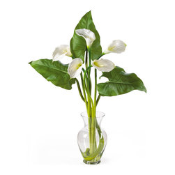 Nearly Natural - Calla Lilly Liquid Illusion with Leaves Silk Flower Arrangement - Treat yourself and your home to the classic beauty of calla lilies. This calla lily silk arrangement features five brilliantly arranged stems. Delicate and graceful this gorgeous item stands 31' tall and comes in your choice of 3 charming colors: Cream, gold, and pink. Three deep green leaves add a perfect finishing touch as they stand boldly behind the lilies. This item sits nestled in a classic glass vase with artificial water. Incredibly elegant, this silk calla lily arrangement is made to enhance any setting. Color: Cream, Height: 31'.