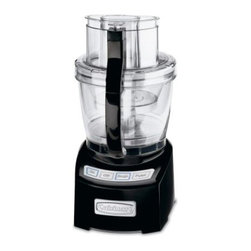 Cuisinart FP-14BK 14 Cup Food Processor - Black - Make large food-prep tasks deliciously easy with the Cuisinart FP-14BK 14 Cup Food Processor - Black. This high-capacity food processor offers a stylish look, dual-bowl functionality, and an easy-to-operate touch pad control system. A powerful 1000-watt motor along with a wide-mouth feed tube, multiple blades, and disk attachments make short work of fruits, veggies, cheese, and dough. An innovative SealTight Advantage System seals the bowls while locking the blades for clean, safe processing and pouring. This processor also comes complete with spatula, recipe/instruction book, and instructional DVD.About CuisinartOne of the most recognized names in cookware and kitchen products, Cuisinart first became popular when introduced to the public by culinary experts Julia Child and James Beard. In 1973, the Cuisinart food processor revolutionized the way we create fine food and healthy dishes, and since that time Cuisinart has continued its path of innovation. Under management by the Conair Corporation since 1989, Cuisinart is a universally celebrated name in kitchens across the globe. With a full-service product line including bakeware, blenders, coffeemakers, cookware, countertop appliances, kitchen tools, and much, much more, Cuisinart products are preferred by chefs and loved by consumers for durability, ease of use, superior quality, and style.