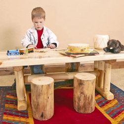 Mountain Woods Furniture - Kids Log Table and Chair Set - Sitting  at  the  kids  table  won't  be  a  punishment  once  they  see  the  beautiful  table  set.  Made  of  solid  aspen  wood,  each  table  and  chair  are  hand-crafted  to  create  the  perfect  furniture  for  your  favorite  kids.  Each  set  comes  with  a  log  table  and  four  chairs.                  Dimensions:  48  wide  x  24  long  x  18  high              Set  includes  a  table  and  four  sturdy  stump  seats              Made  of  Solid  Aspen              Made  in  the  USA
