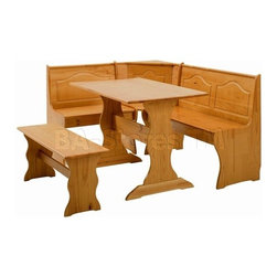 Atlanta Honey Pine Kitchen Set - Beautiful and natural new Atlanta Honey Pine Kitchen Set by Palace Imports made of the well-known Brazilian pine. Color & Texture - Brazilian Pine has exceptionally wide sapwood which is honey-toned in color. It has a straight, uniform grain which machines to a clear, smooth surface.The natural color of pine is very appealing. It is a lighter shade of wood that can be stained or painted to virtually any other color that could be desired. When you bring a piece of pine furniture into your home, you are infusing a room with warmth and character. The distinct knotting of pine adds to its visual appeal, while the grain accents its naturally light color. Atlanta Honey Pine Kitchen Set has the ability to withstand scuffs, shocks and jars without splitting.They are water and even sun resistant keeping the original beauty constant for years of regular use.