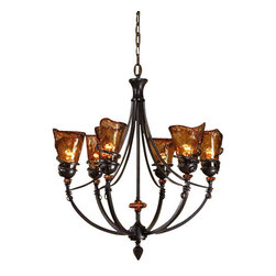 Uttermost Vitalia 6Lt Oil Rubbed Bronze Chandelier - Oil rubbed bronze metal with amber tinted accents and hand crafted toffee colored art glass. Hand wrought, oil rubbed bronze metal curls around heavy, hand made glass. Its amber tonalities are key in this exciting mix of materials.