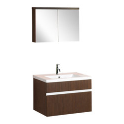 BathAuthority LLC dba Dreamline - Wall-Mounted Modern Bathroom Vanity with Porcelain Counterand Medicine Cabinet - DreamLine ceramic bathroom vanities are available in different styles and colors. Combining beauty with function, they would fit any bathroom design. Made with high quality MDF wood