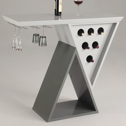 Chintaly Imports - Mulberry Modern Double Triangle Home Bar with Wine Glass Rack and Storage - Modern Double Triangle Home Bar with wine glass rack and bottle storage.