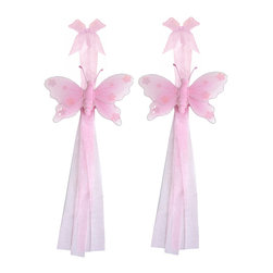 "Bugs-n-Blooms - Butterfly Tie Backs Pink Jewel Nylon Butterflies Tieback Pair Set Decorations - Window Curtains Holder Holders Tie Backs to Decorate for a Baby Nursery Bedroom, Girls Room Wall Decor - 5""W x 4""H Jewel Curtain Tieback Set Butterfly 2pc Pair - Beautiful window curtains tie backs for kids room decor, baby decoration, childrens decorations. Ideal for Baby Nursery Kids Bedroom Girls Room.  This gorgeous butterfly tieback set is embellished with sequins and glitter.  This pretty butterfly decoration is made with a soft bendable wire frame & have color match trails of organza ribbons.  Has 2 thick color matched organza ribbons to wrap around the curtains.  Visit our store for more great items. Additional styles are available in various colors, please see store for details. Please visit our store on 'How To Hang' for tips and suggestions. Please note: Sizes are approximate and are handmade and variances may occur. Price is for one pair (2 piece)"