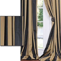 EFF - Black/ Gold Stripe Faux Silk Taffeta Curtain Panel - Give your home a royal look with this striped faux silk curtain panel. The contrasting black and gold stripes look rich and bold, and the panel is made of decorative taffeta. The included lining provides extra light filtering on bright days.