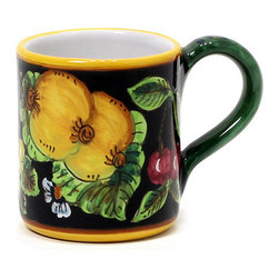 Artistica - Hand Made in Italy - GERIBI: Mug Fruits with black background. - GERIBI Collection: Geribi is a leading designer and manufacturer of ceramics from Deruta, the renown hilltop town located in the Umbria region.