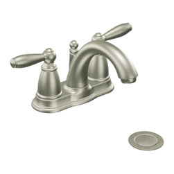 "Moen - Moen 6610BN Brushed Nickel Bath Sink Faucet Two Lever Handle 4"" Centerset, ADA - Moen 6610BN is part of the Brantford Bath collection. Moen 6610BN is a new style bathroom lavatory, sink faucet. Moen 6610BN has a Brushed Nickel finish. Moen 6610BN mounts in a 3-hole 4"" Centerset sink, has a low-arc design, with 5"" high and 5 1/4"" long spout, and a full 3 1/4"" from deck to aerator. Moen 6610BN includes a metal pop-up type waste assembly. Moen 6610BN is part of the Brantford bath collection, featuring its beautiful look and timeless appeal. This collections traditional style complements any homes decor. Moen 6610BN fits the MPact common valve system and includes Moen's 1224 Cartridge. Moen 6610BN two lever handle provides ease of operation. Brushed Nickel has a Lifeshine finish guarantee from Moen and provides style and durability. Moen 6610BN metal lever handle meets all requirements ofADA ICC/ANSI A117.1 and ASME A112.18.1/CSA B125.1, NSF 61/9 and proposition 6"". Water Sense Certified. Lifetime limited Warranty."