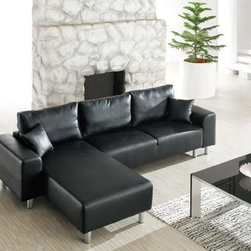 Elite Full Italian Leather L-shape Furniture with Pillows - Modern Style