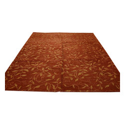 1800-Get-A-Rug - Modern Nepali Hand Knotted Rug Wool and Silk Rust Red Oriental Rug Sh12046 - About Modern & Contemporary