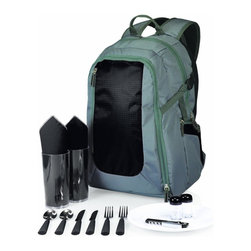 Picnic time - Escape -Grey with Black Backpack - The Escape by Picnic Time is an insulated backpack with picnic service for two. Made of insulated polyester ripstop in two complementing colors, the Escape will protect (and conceal) your picnic as you trek to the remotest picnicking location. Escape is designed to resemble an ordinary backpack, but it contains a full picnic set for two in its front compartment and a roomy, insulated cooler section for your food and drinks. Exterior beverage pockets on each side, coupled with adjustable webbing straps and a large security pocket complete the illusion that Escape is nothing but a backpack. Surprise a friend with a picnic they'll never forget.