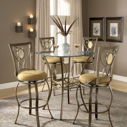 Hillsdale Furniture - Hillsdale Brookside 5 Piece Pub Table Set w/ Brookside Oval Barstool - Hillsdale Furniture's versatile bistro collection features the panache of a pub with all comfort and convenience of full scale dining. This round bar height table is topped with a stunning 36 glass top and can be sold with your choice of four barstools. The Marin barstool  upholstered in the always popular beige miscrofiber  and finished in a flecked brown  features a traditional slat back accented by a fossil stone filled diamond motif. Our Hanover barstool features a delicate lattice backed design  and boasts the same finsih and fabric as the Marin. Last  our always in demand Brookside barstools are a lovely compliment to the this table as well. This ensemble offeres so many choices  and is lovely as a complete collection. No need for a complete dining group  these barstools are all elegant alone as well  and would make fine additions to your kitchen or bar area.