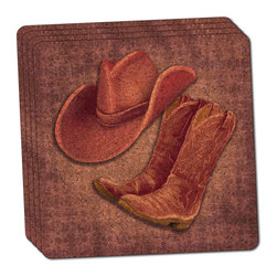 """Made on Terra - Cowgirl Hat and Boots Country Thin Cork Coaster Set of 4 - You're just cleaning up after your epic party when you realize it... something's different. Unlike all those other times, you're not mopping up cup condensation from your counters and tables. This time, everyone used a coaster. Everyone. Maybe it's because you handed out a coaster with every glass. No. You've tried that before. No, this time it's because of the actual coasters. You found the cutest Made On Terra printed cork coasters. You love that everyone commented on how unique they were,  from the light-weight, thin cork material to the printing that creates a cool and subtle effect. Plus, they're really absorbent, but dry quickly. And they're made from an eco-friendly, sustainable resource, so that makes you feel pretty great, too. Choose from Made on Terra's many fabulous cork coasters. Measures 4"""" x 4"""" x 1/8"""". Made of thin cork. Super cute and nicely absorbent. Sold in sets of four."""
