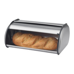 PRIME PACIFIC - Brushed Stainless Steel Bread Bin - This bread bin will be all you need to keep your bread safe. It is made of heavy duty 5 mm thick stainless steel. It has a swing down door for easy storage of bread. It is also generously proportioned to keep bread fresher, longer!